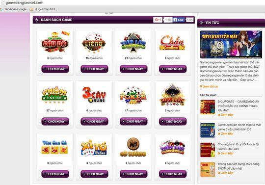 Nhiều tựa game bài xuất hiện trên các web.