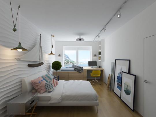 Phòng ngủ nồng đậm hơi thở biển khơi với những món đồ trang trí ấn tượng.