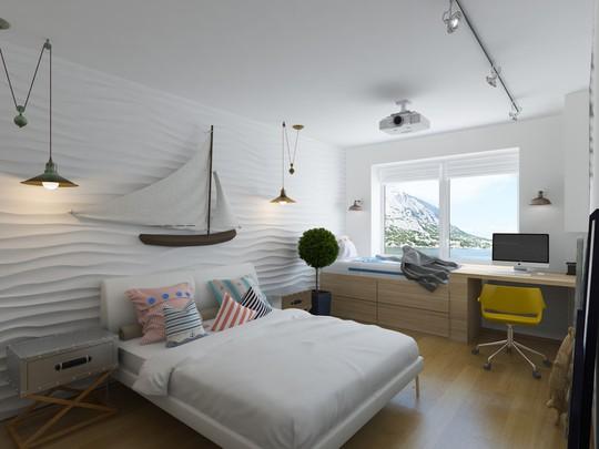 Từ phòng ngủ hoàn toàn có thể tận hưởng vẻ đẹp biển cả bên ngoài qua khung cửa sổ cỡ lớn.