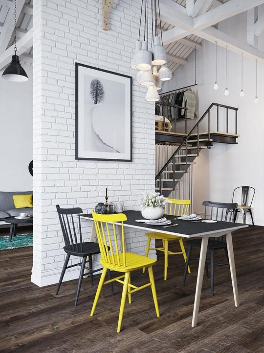 Bức tường nhỏ được thiết kế giữa không gian căn hộ giúp chia từng khu vực sinh hoạt rõ ràng.