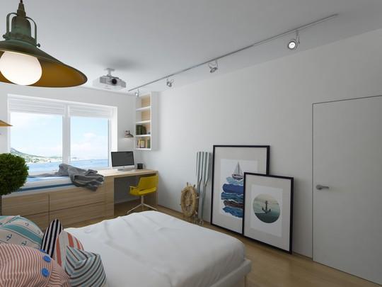 Những mô hình thuyền, tranh, chèo thuyền hay vô lăng thuyền đều được bày đặt tinh tế trong phòng ngủ.