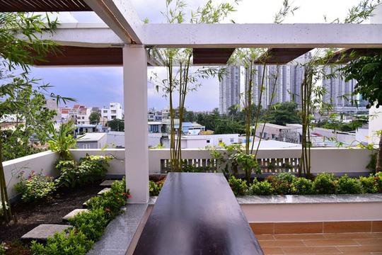Không chỉ trồng cây ở sân tầng một, kiến trúc sư còn bố trí những khoảng vườn xinh xắn ở sân thượng với các loại cây dân dã như tre trúc, hoa sứ.