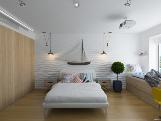 Dễ dàng cảm nhận sự đối xứng qua chiếc giường qua đèn chiếu sáng hay hòm chứ đầu giường.