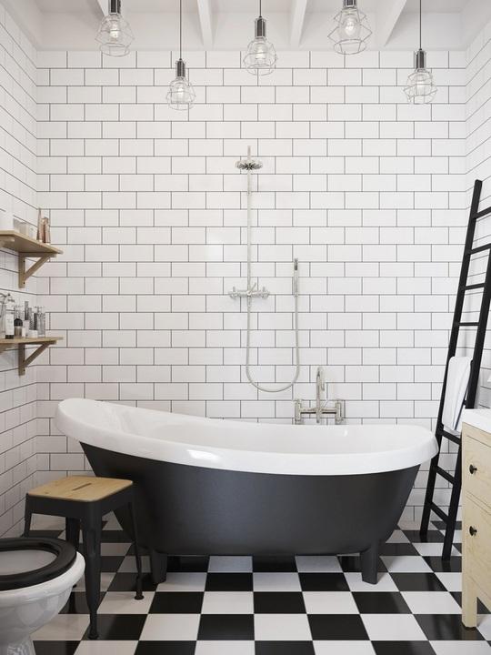Nhà tắm được thiết kế vừa mang màu sắc cổ điện vừa mang nét hiện đại với 2 gam màu đối lấp đen – trắng.