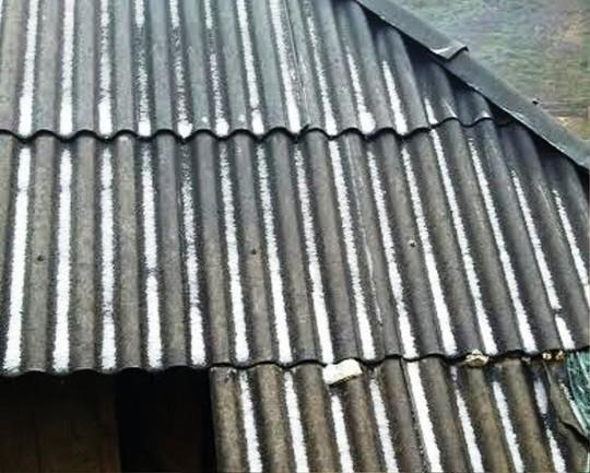 Băng giá trên mái nhà của bản Cao Sơn, xã Lũng Cao, huyện Bá Thước - Ảnh: Thanh Tùng