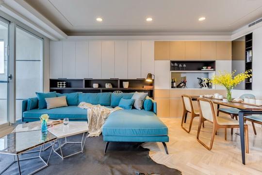 Không gian mở được thiết kế nối liền khu vực phòng khách và nhà bếp.