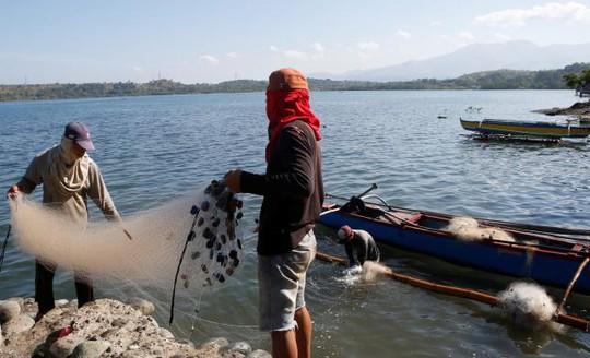 Ngư dân kéo lưới tại vùng ven thị trấn Masinloc. Ảnh: REUTERS