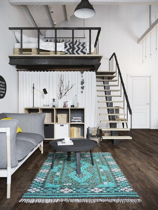 Nhờ thiết kế gác xép, căn hộ khai thác không gian một cách triệt để.