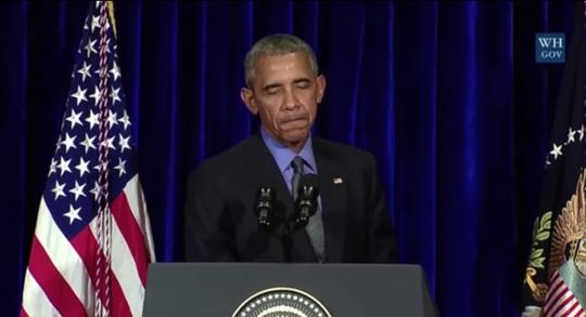 Ông Obama phát biểu tại cuộc họp báo được truyền hình trực tiếp ở Lào hôm 8-9. Ảnh: INQUIRER