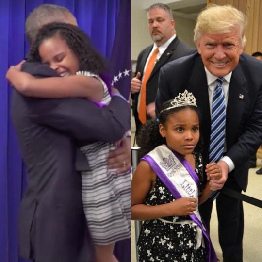 Biểu cảm trái ngược của bé gái khi gặp ông Trump và ông Obama. Ảnh: TWITTER