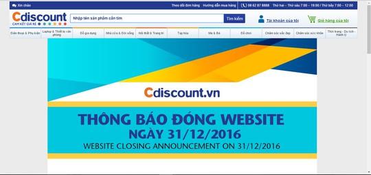Thông báo đóng cửa được đưa ra trên trang Cdiscount.vn.