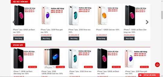 Bảng giá iPhone 7 của một cửa hàng tại TP HCM cho thấy giá iPhone đã rớt nhanh chóng.