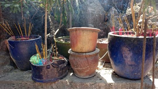 Chậu cây và những khoảng trống xung quanh chùa đều được tận dụng cắm nhang chi chít.