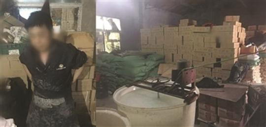 Cảnh sát Trung Quốc đột kích cơ sở sản xuất sứa giả. Ảnh: PEOPLE.CN