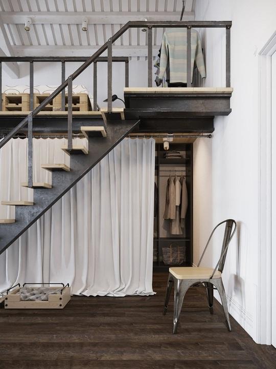Phần bên dưới gác xép trở thành khu vực lưu trữ quần áo, thử đồ lý tưởng cho chủ nhân căn hộ.