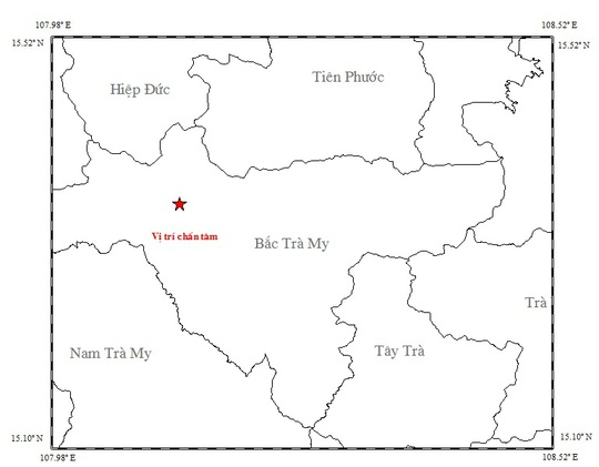Bản đồ chấn tâm trận động đất sáng 31-1 Ảnh: Viện Vật lý địa cầu