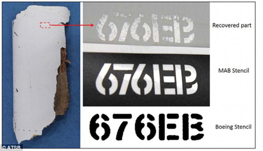 Mã số 676EB trên mảnh vỡ thứ 1. Ảnh: ATSB