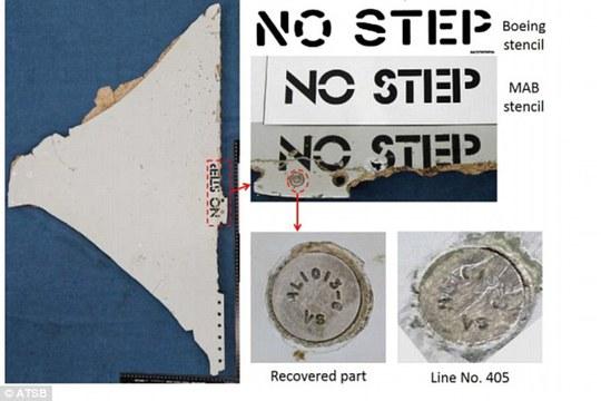 """Chữ """"NO STEP"""" trên mảnh thứ 2. Ảnh: ATSB"""