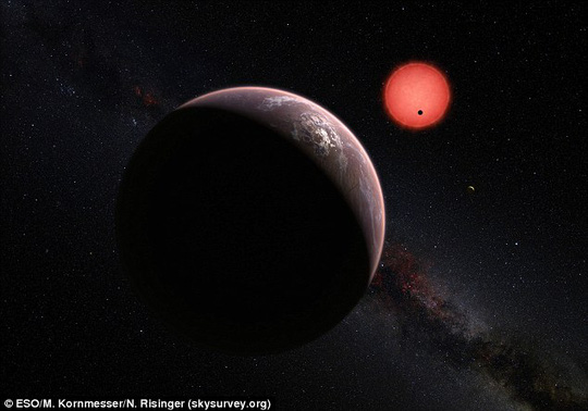 Các nhà thiên văn học đã tìm thấy 3 hành tinh có kích thước tương đương Trái đất trong vùng sự sống Goldilocks. Ảnh: ESO