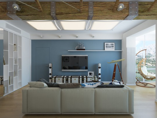 Cửa ra vào của phòng khách cũng được khéo léo ngụy trang đồng bộ với bức tường xanh của căn phòng.