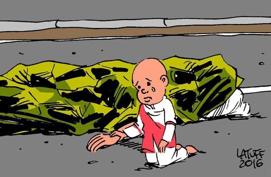Bức họa của Carlos Latuff. Ảnh: TWITTER