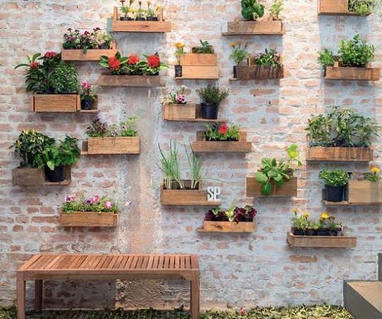 Những thanh pallet cỡ nhỏ có thể tạo thành từng khay trồng riêng và gắn lên tường nhà để xóa đi vẻ đơn điệu của nó.