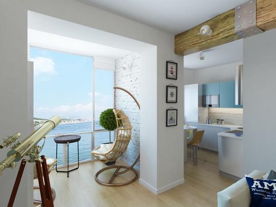 Bên ngoài phòng khách được thiết kế với một góc view ấn tượng.