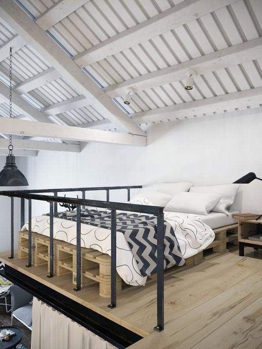 Thiết kế giường pallet vừa thân thiện lại phù hợp với kiểu không gian gác xép.