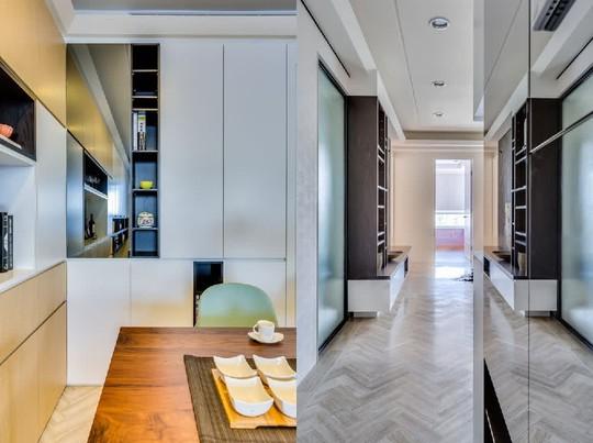 Những chất liệu như gỗ min, đá được sử dụng nhiều trong căn hộ nhằm mục đích dễ lau chùi cho nhà có trẻ nhỏ.