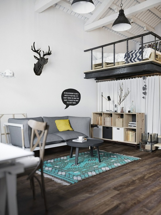 Phòng khách được thiết kế hài hòa với việc khéo léo lựa chọn đồ nội thất.