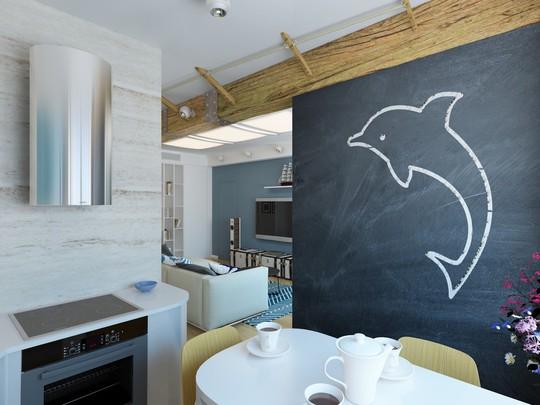 Bức tường nhỏ trong căn bếp được trang trí với hình cá heo ngô nghĩnh cùng với những công dụng nhắc nhớ tuyệt vời.