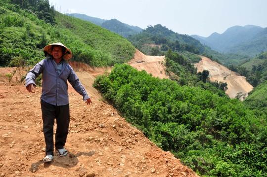 Ngoài diện tích rừng phòng hộ bị phá, hàng chục héc-ta rừng tự nhiên sản xuất cũng bị phá để thi công dự án thủy điện. Ảnh: T.Trực