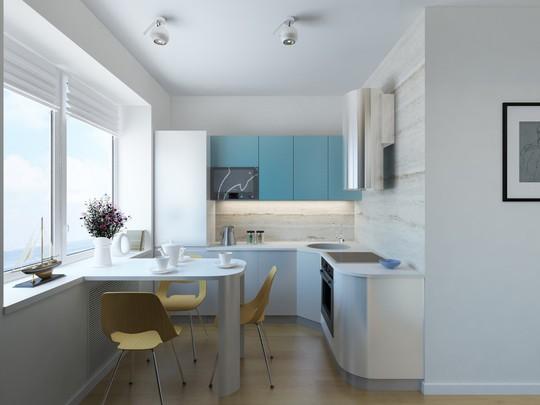 Tủ bếp cũng được thiết kế trang nhã với tông màu xanh, trắng chủ đạo của ngôi nhà.