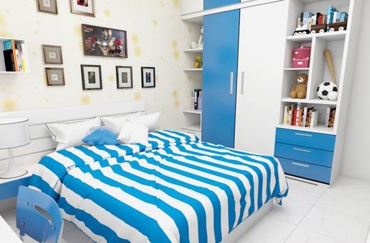 Phòng ngủ bé trai nổi bật với màu xanh da trời.