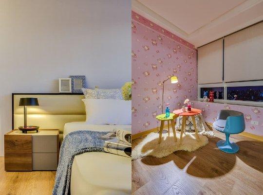 Khác với phòng bố mẹ, phòng của bé được thiết kế với giấy dán tường hồng đầy nữ tính.