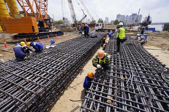 Nhộn nhịp công trường nhà ga metro ngầm Ba Son