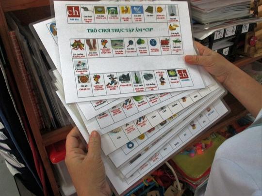 Các bộ trò chơi phục vụ việc điều trị nói ngọng tại Bệnh viện Nhi Đồng 2 (TP HCM)