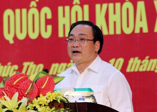 Bí thư Thành ủy Hà Nội Hoàng Trung Hải tiếp xúc cử tri huyện Phúc Thọ (Hà Nội)