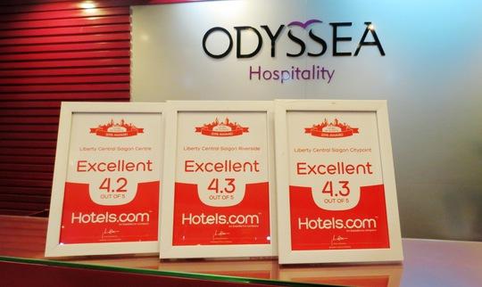 Chuỗi khách sạn Liberty Central đón nhận giải thưởng từ Hotels.com