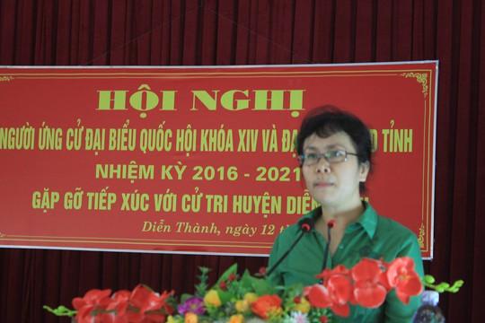 Bà Nguyễn Vân Chi tiếp xúc cử tri tại Nghệ An - Ảnh: Tân Kỳ