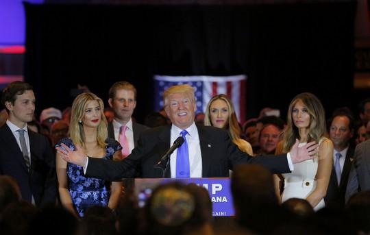 Tỉ phú Donald Trump phát biểu sau chiến thắng ở bang Indiana Ảnh: REUTERS