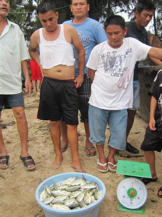 Lực lượng chức năng kiểm đếm số lượng cá chết từng hộ dân