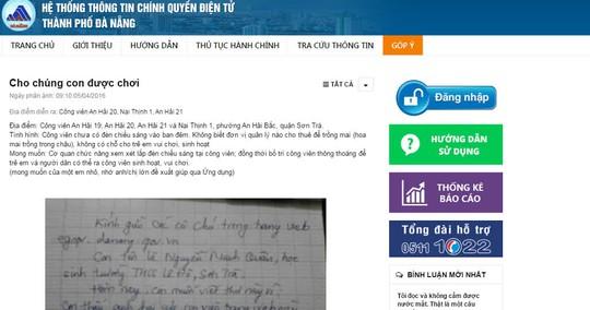 Người dân phản ánh và chính quyền trả lời trực tiếp trên trang Góp ý Đà Nẵng