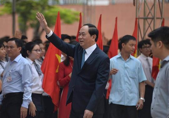 Chủ tịch nước Trần Đại Quang dự lễ khai giảng tại trường Hà Nội - Amsterdam - Ảnh: Hoàng Hà