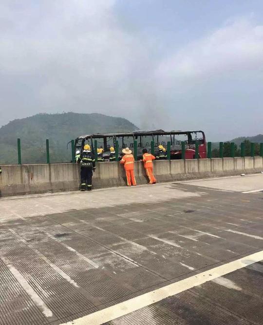 Chiếc xe buýt bị thiêu rụi. Ảnh: Twitter