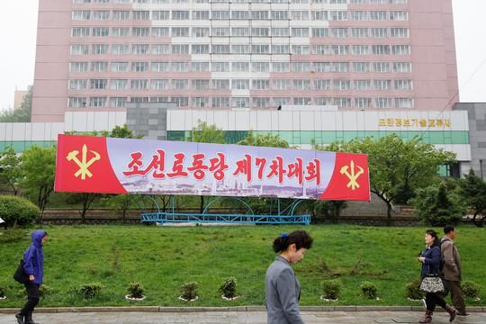 Bảng giới thiệu sự kiện Đại hội đảng Lao động Triều Tiên. Ảnh: Reuters