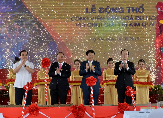 Thủ tướng Nguyễn Xuân Phúc dự lễ động thổ Công viên Kim Quy 4.600 tỉ đồng - Ảnh Quang Hiếu