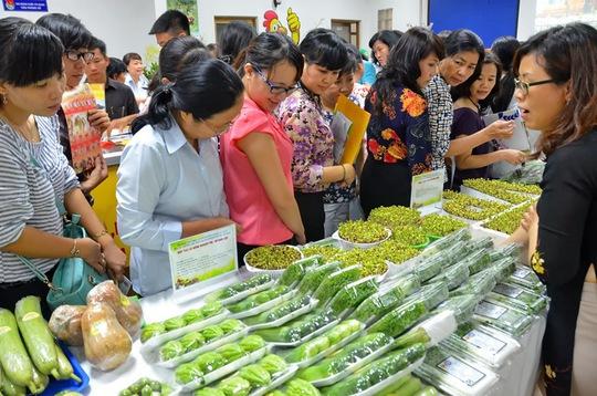 Đại diện các trường học xem các loại thực phẩm sạch trưng bày tại hội thảo. Ảnh: Tấn Thạnh