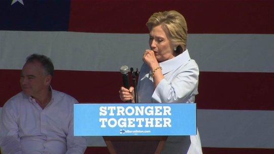 Bà Clinton ho nhiều trong cuộc vận động ở bang Ohio. Ảnh: NBC News