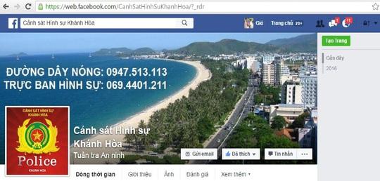 Facebook của Cảnh sát hình sự tỉnh Khánh Hòa